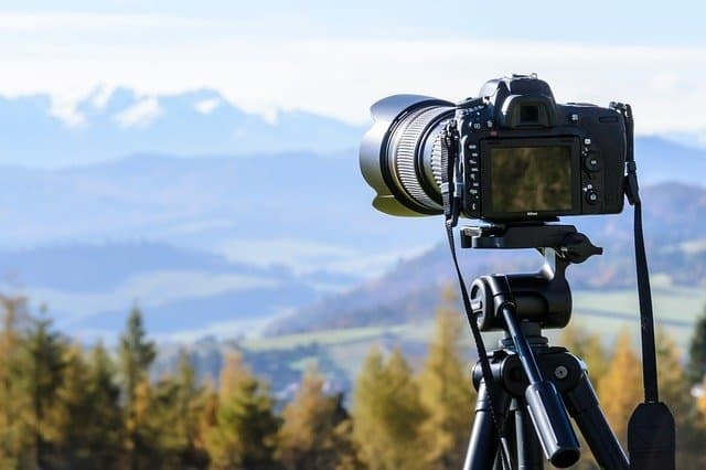 camera pointed at mountain