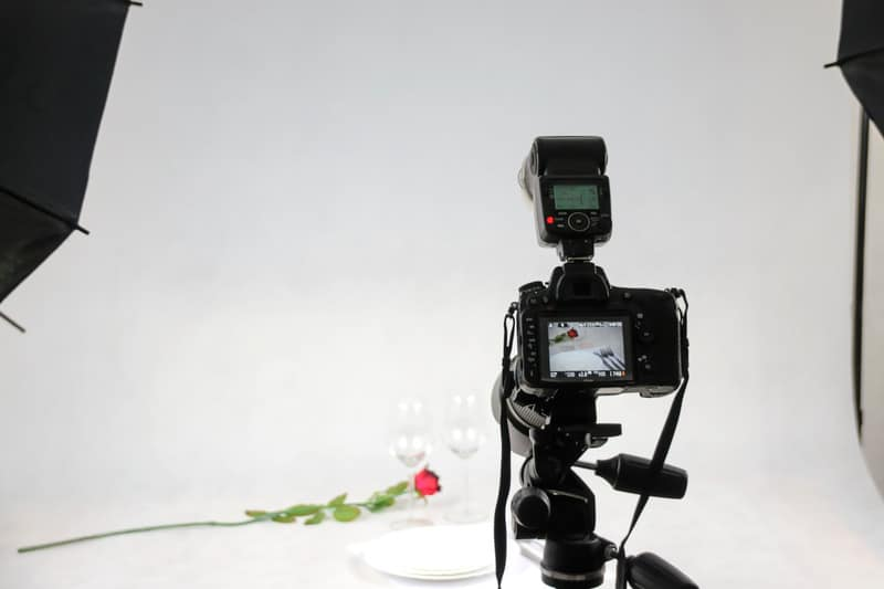 camera view of rose being photographed