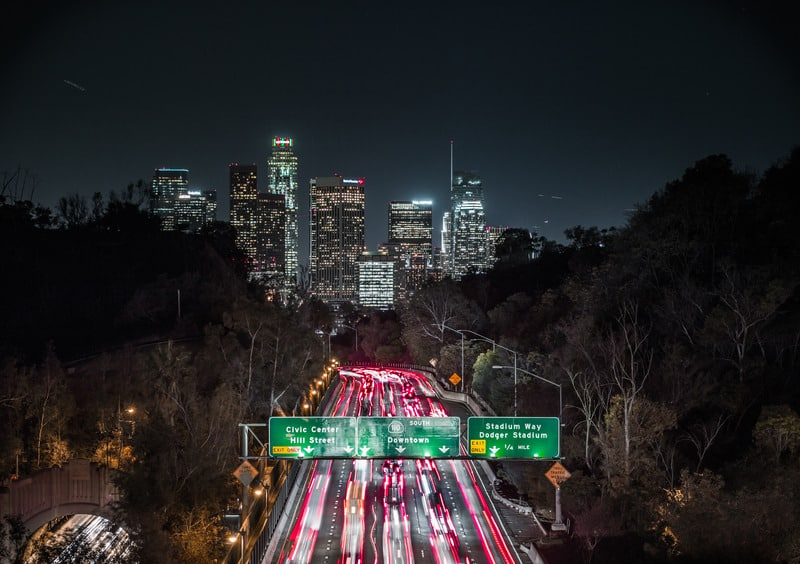 time lapse of city street at night