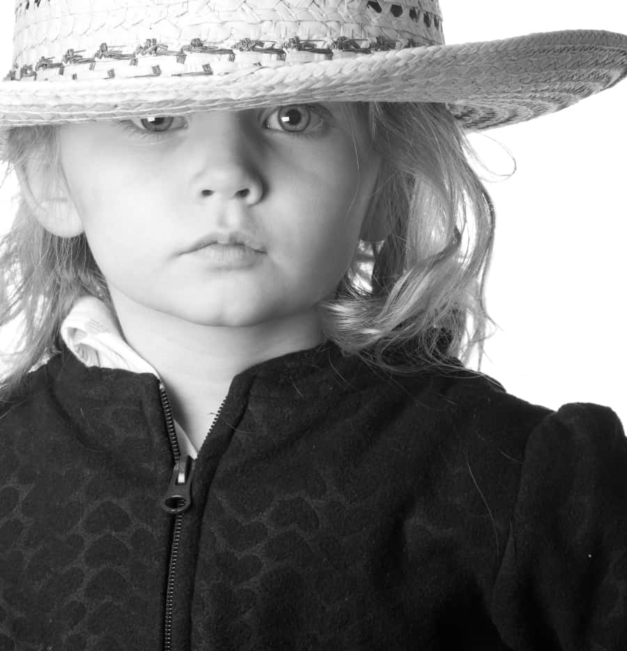 young girl in straw hat