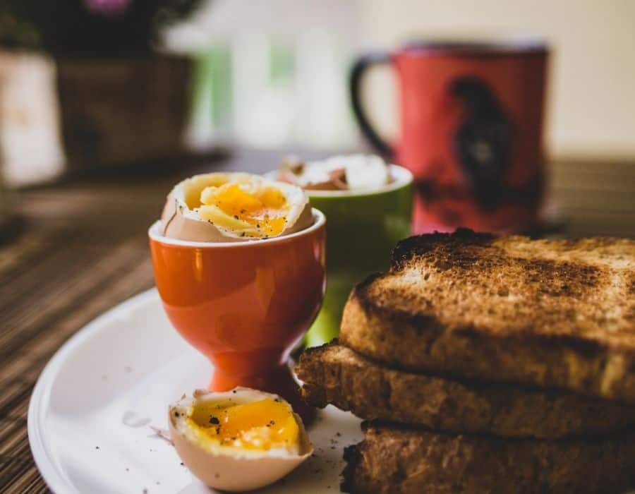 closeup of eggs, toast and coffee