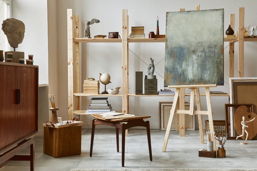 artist studio with easel and painting