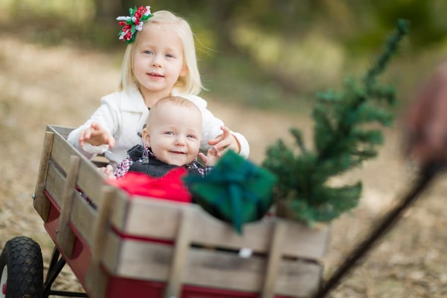 baby and toddler in christmas wagon