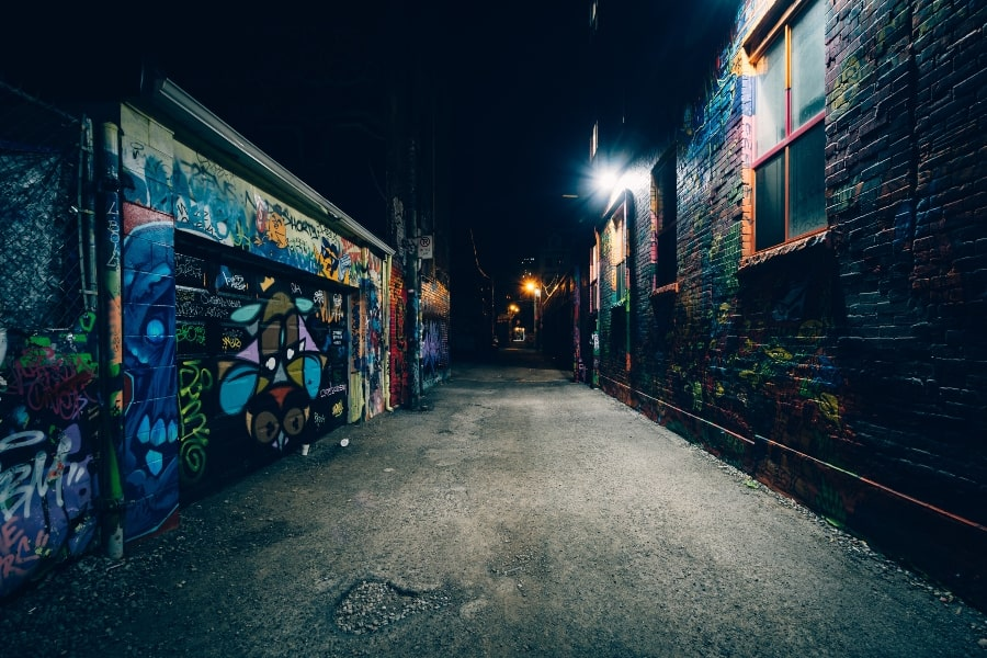 graffiti lined street