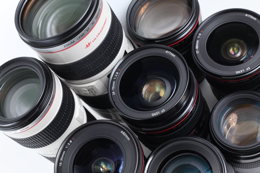 group of Canon lenses
