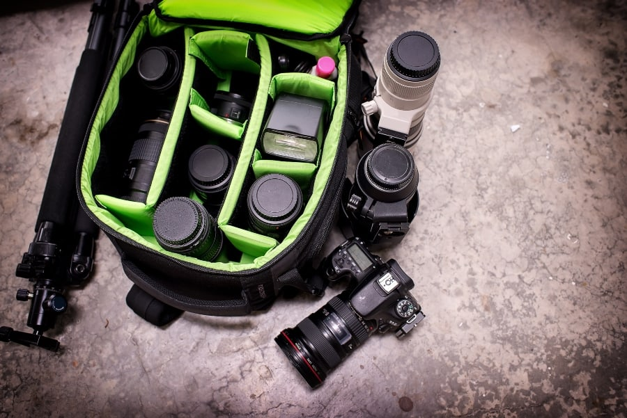 loaded camera bag with gear
