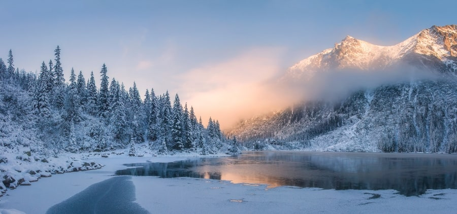 winter sunrise with mountain