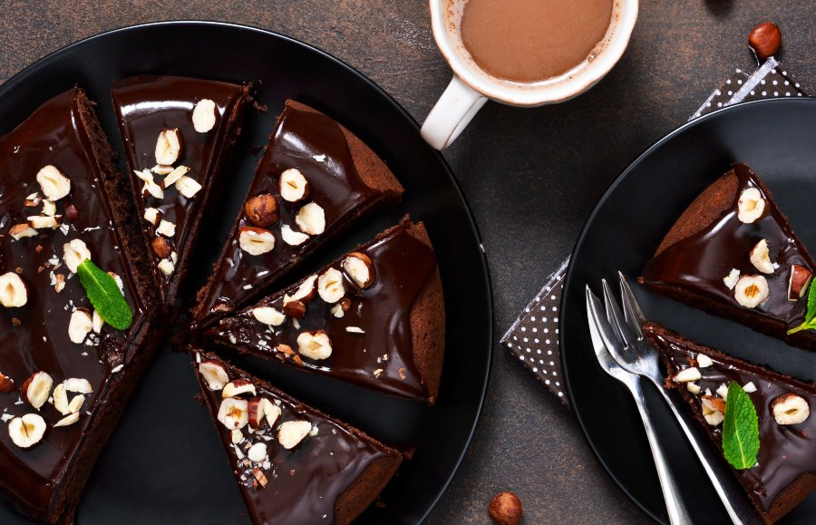 chocolate ganache frosted cake