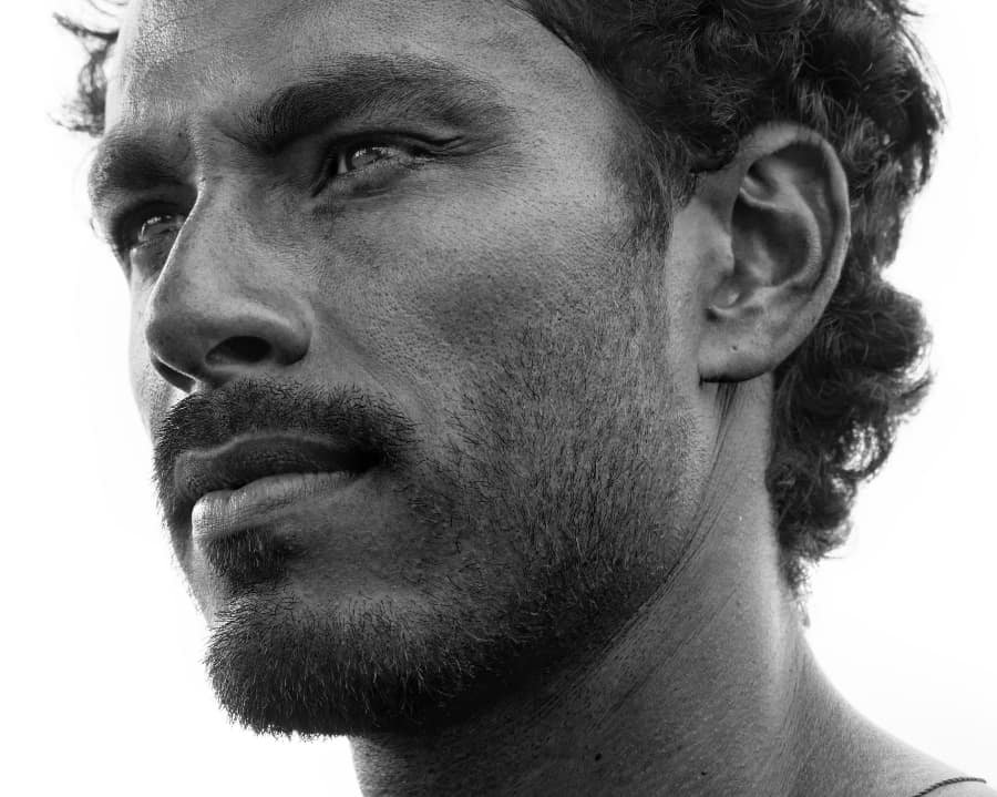 close up black and white portrait of man