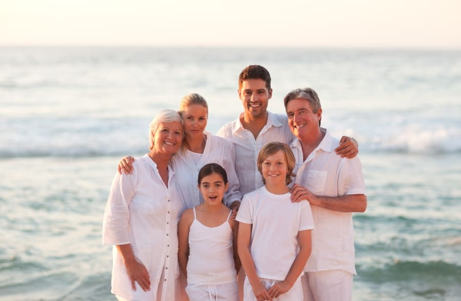 family portrait at the ocean