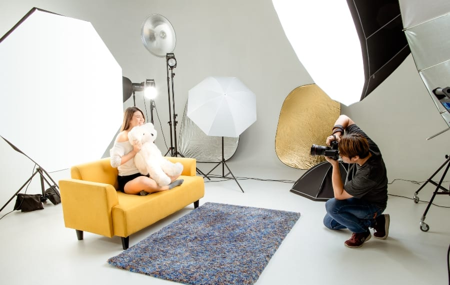 portrait studio with lights