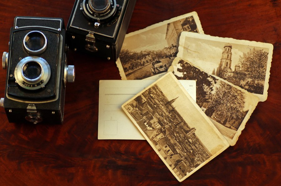 postcards and twin reflex lens camera
