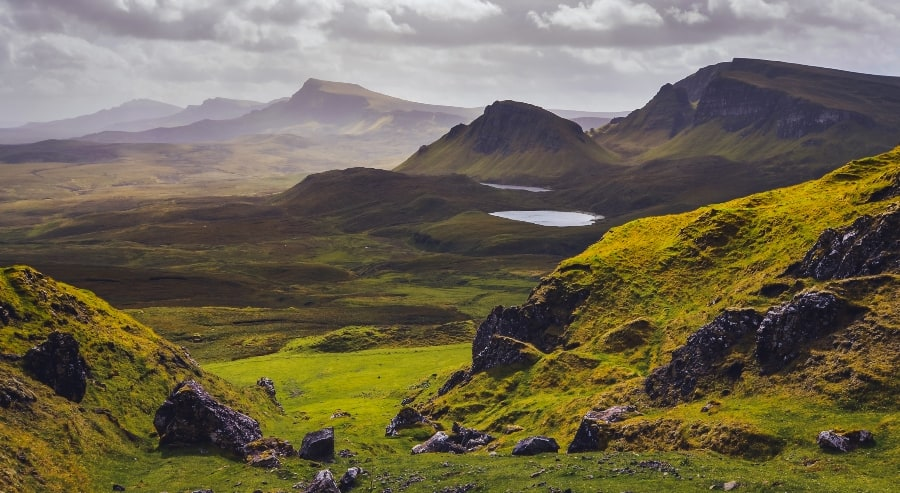 scottish highlands with mountains